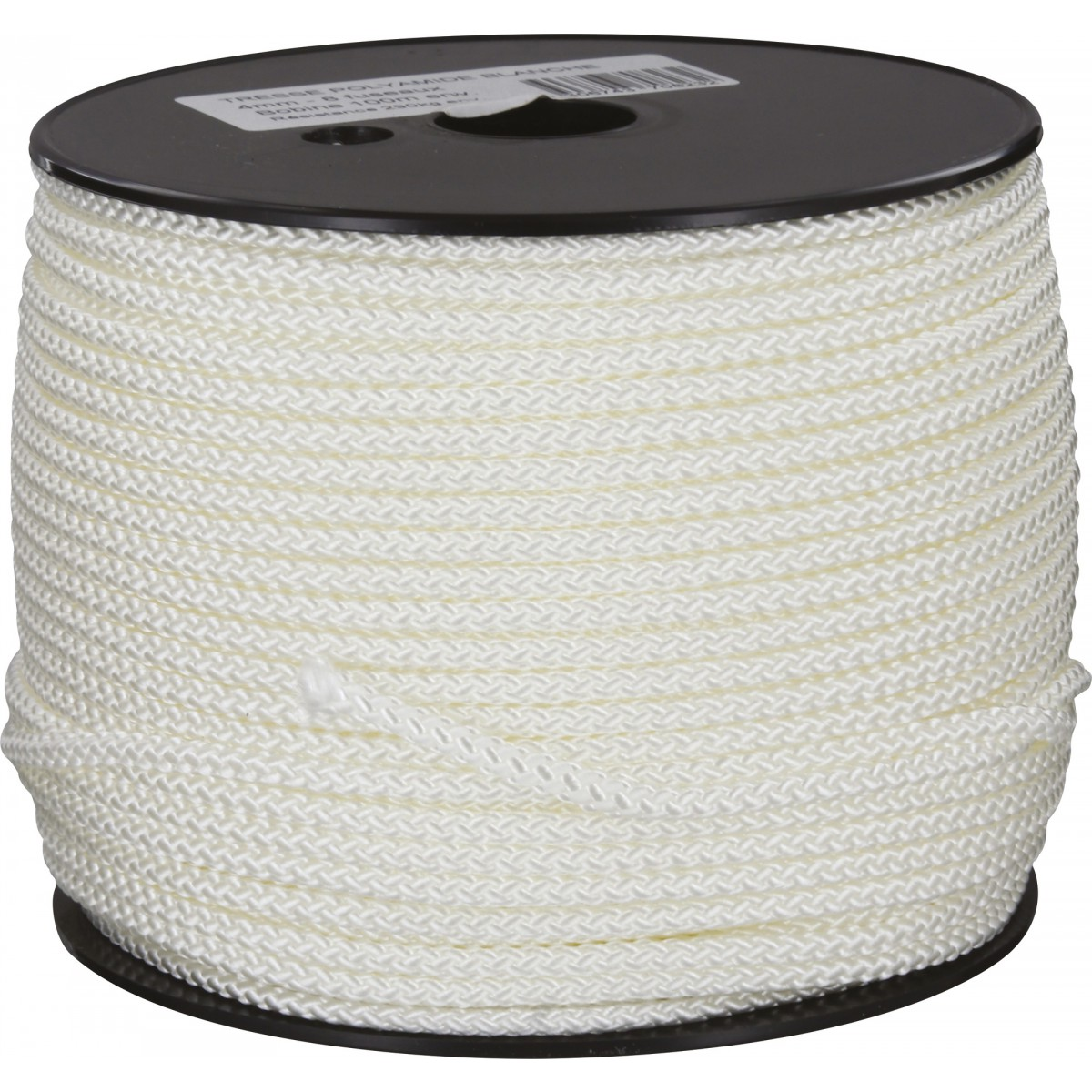 Drisse polyamide tressé blanc Corderies Tournonaises - Longueur 100 m - Diamètre 4 mm