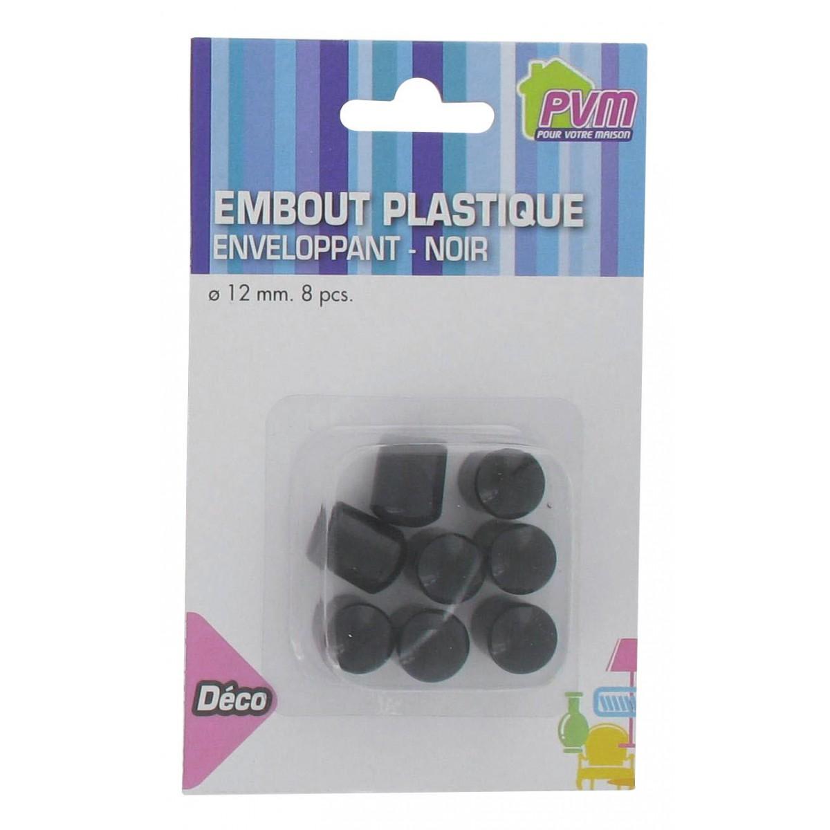 Embout enveloppant plastique noir PVM - Diamètre 12 mm - Vendu par 8