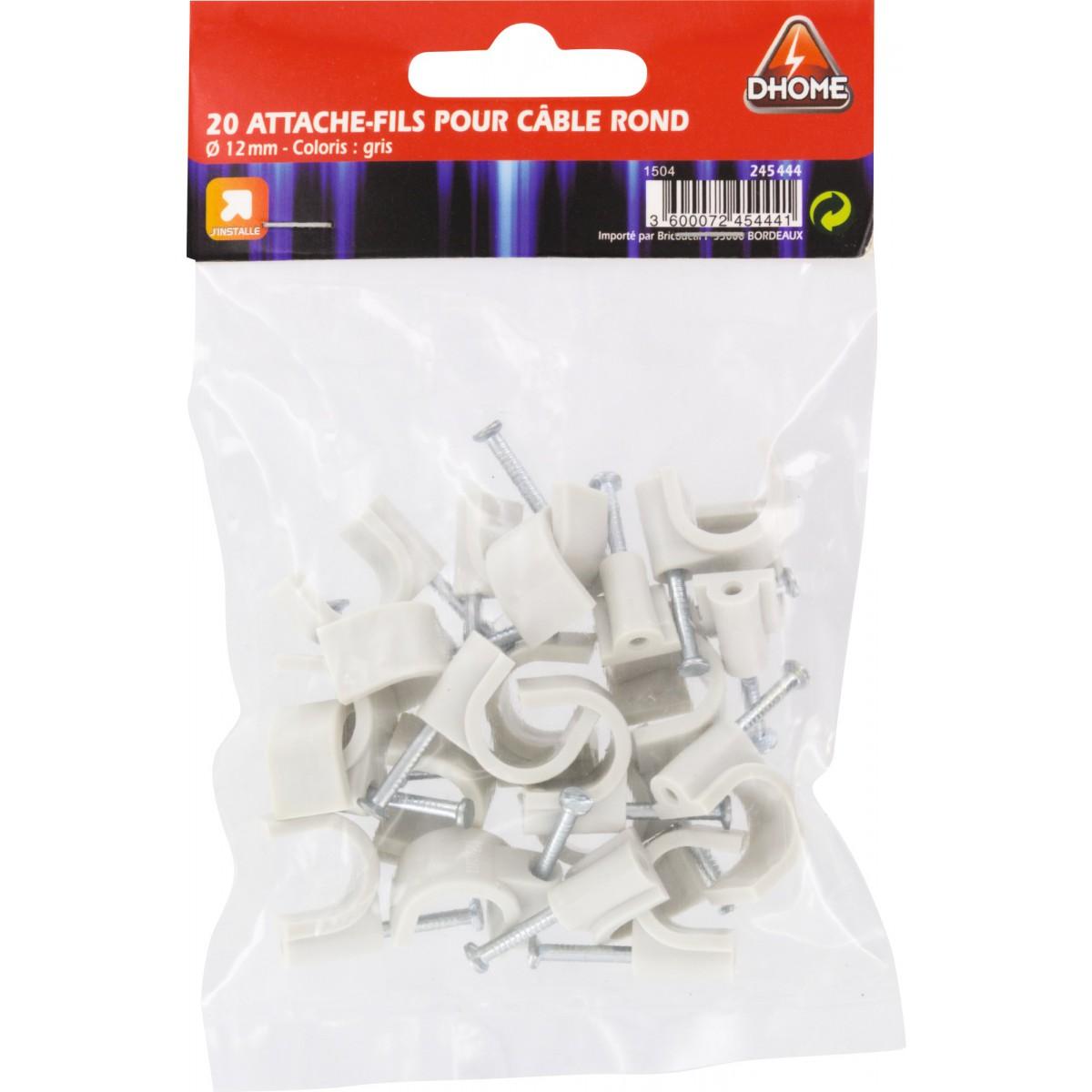 Pontet rigide gris Dhome - Diamètre 12 mm - Vendu par 20