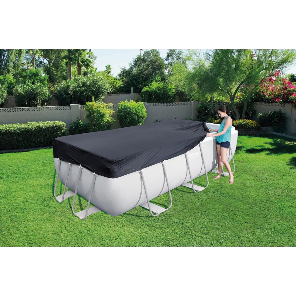 Bâche 4 saisons pour piscine rectangulaire Steel Pro Bestway - Longueur 4,12 m - Largeur 2,01 m