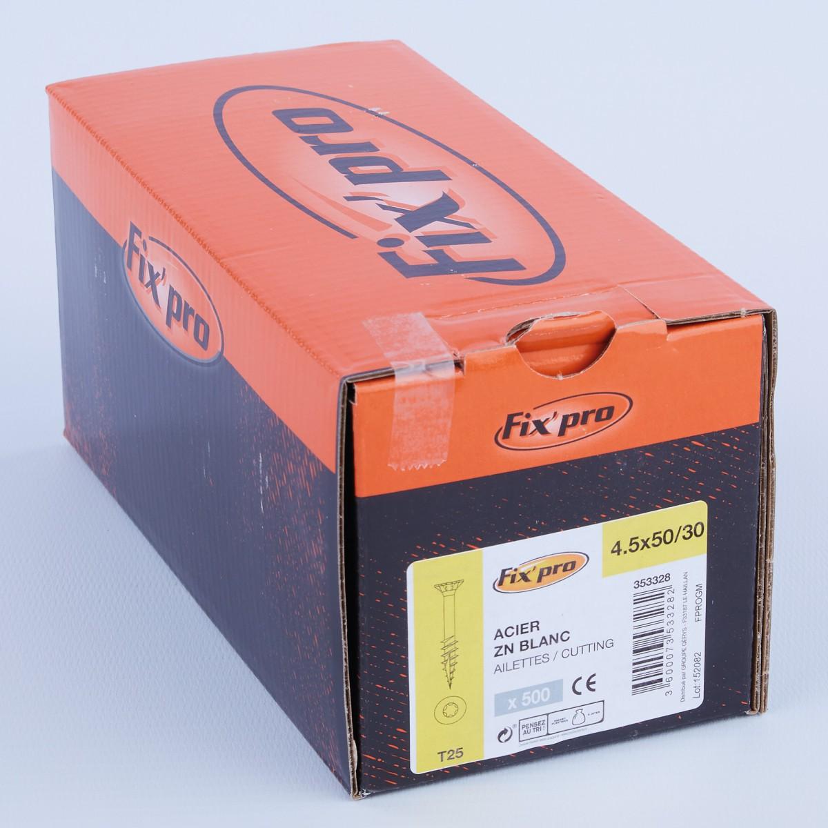Vis à bois tête fraisée TX - 4,5x50/30 - 500pces - Fixpro