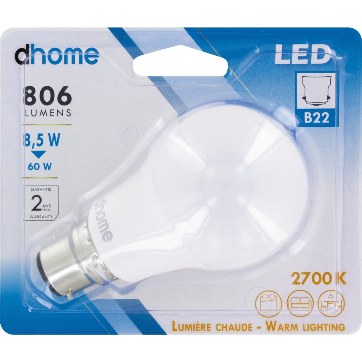 Ampoule LED standard B22 dhome - 806 Lumens - 8,5 W - 2700 K