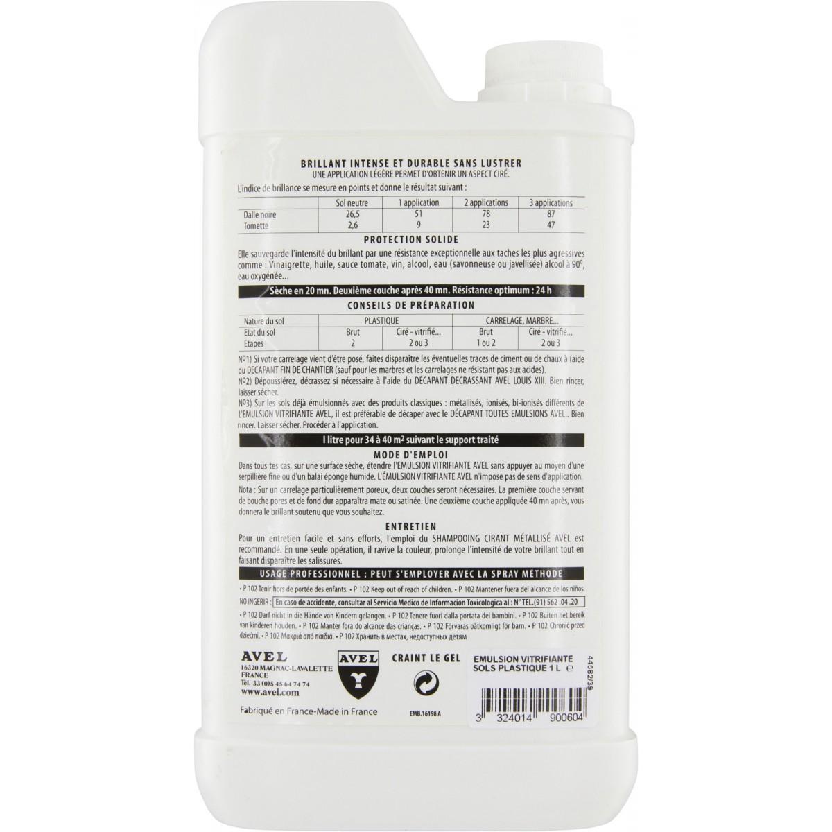 Emulsion vitrifiante sols Avel - Bidon 1 l