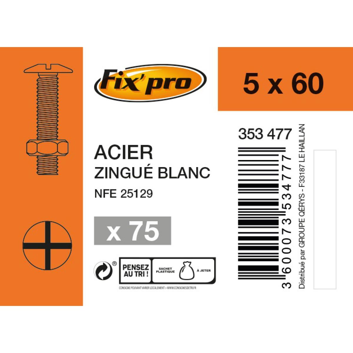 Boulon poêlier acier zingué - 5x60 - 75pces - Fixpro