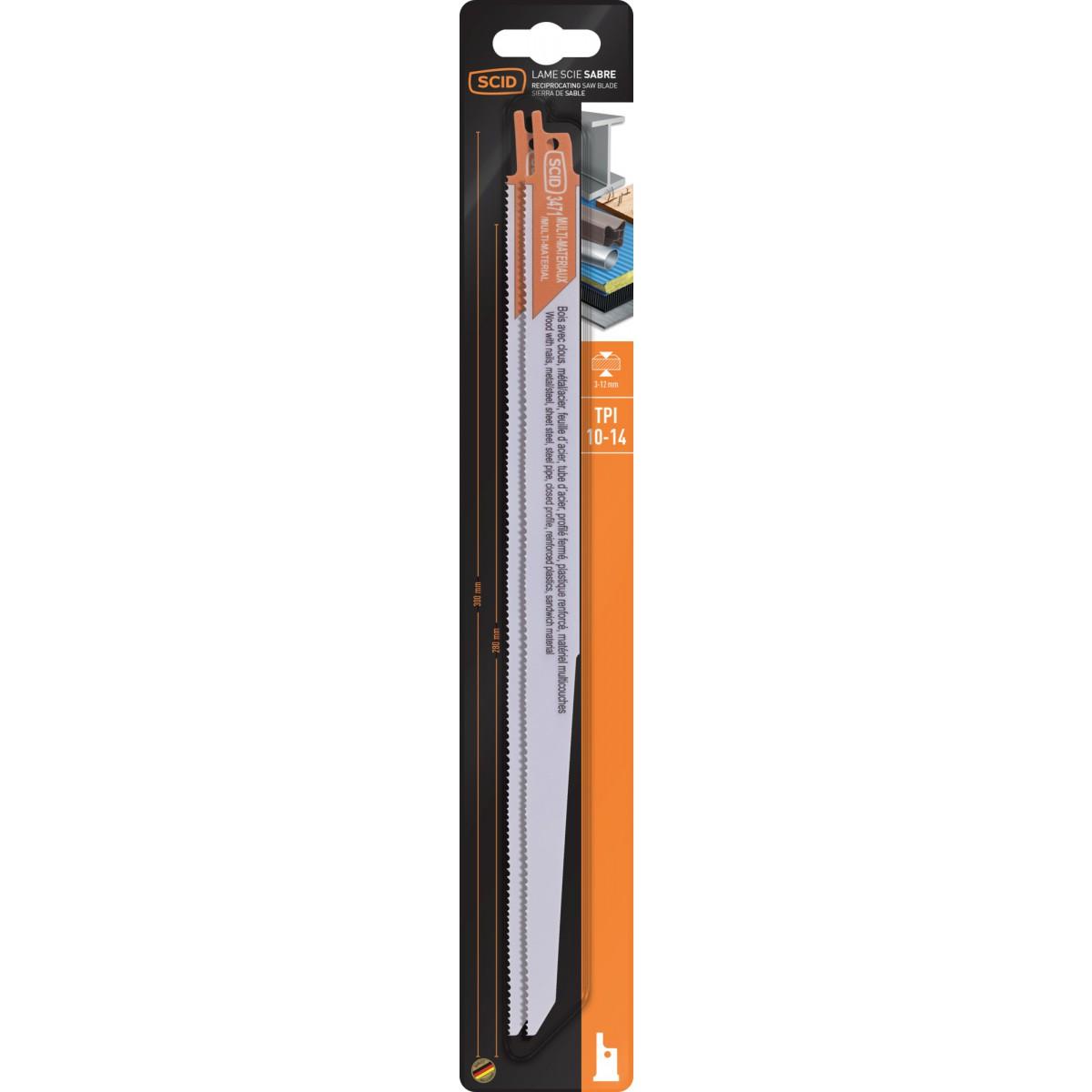 Lame de scie sabre classique bois et matériaux SCID - Epaisseur 0,9 mm - Longueur 300 mm - Vendu par 2