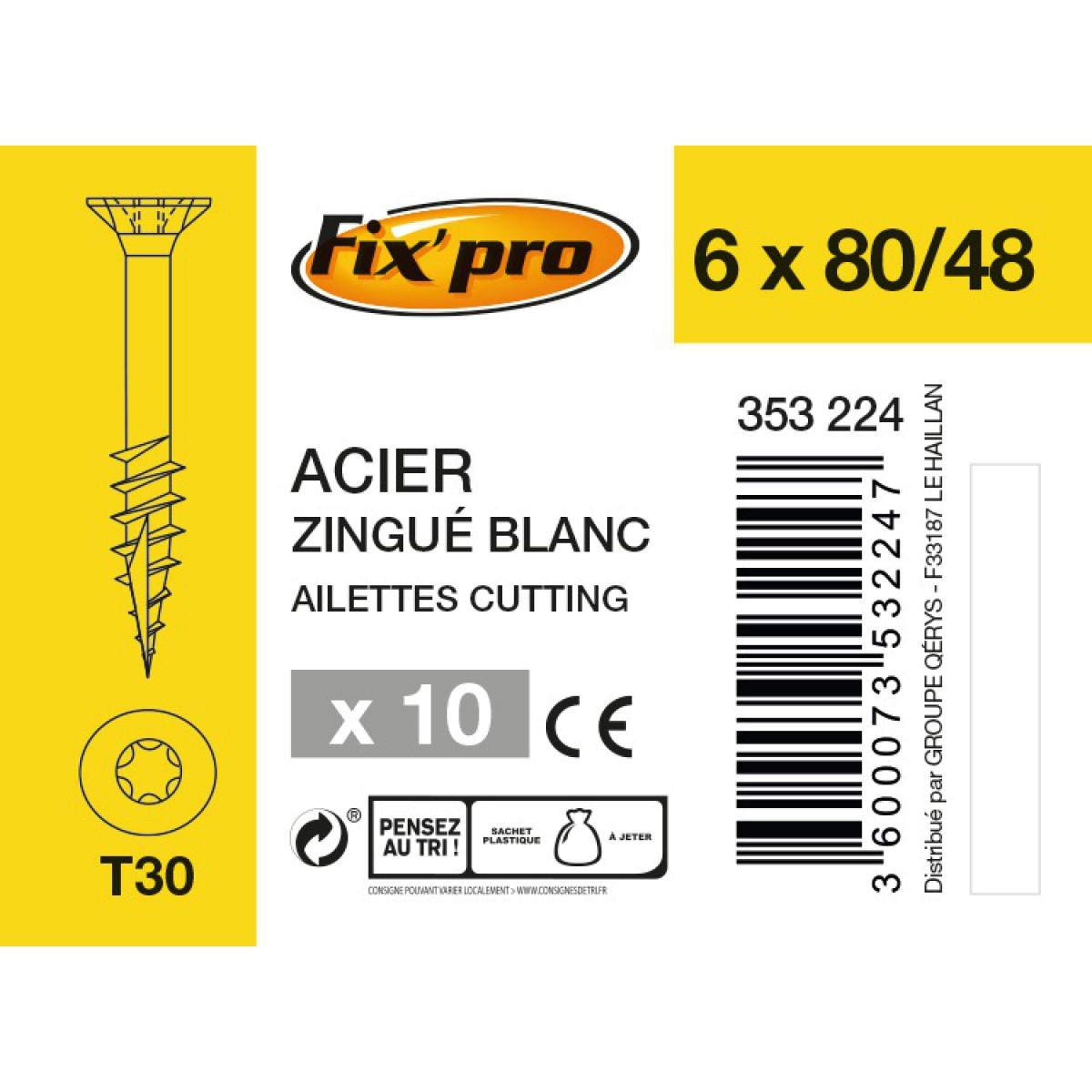 Vis à bois tête fraisée TX - 6x80/48 - 10pces - Fixpro