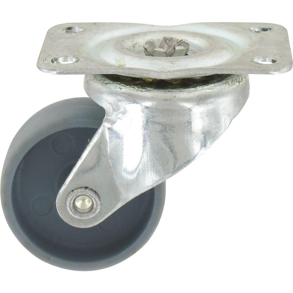 Roulette Mini Roll à platine pivotante Guitel point M - Roue Polychoc gris - Charge utile 15 kg
