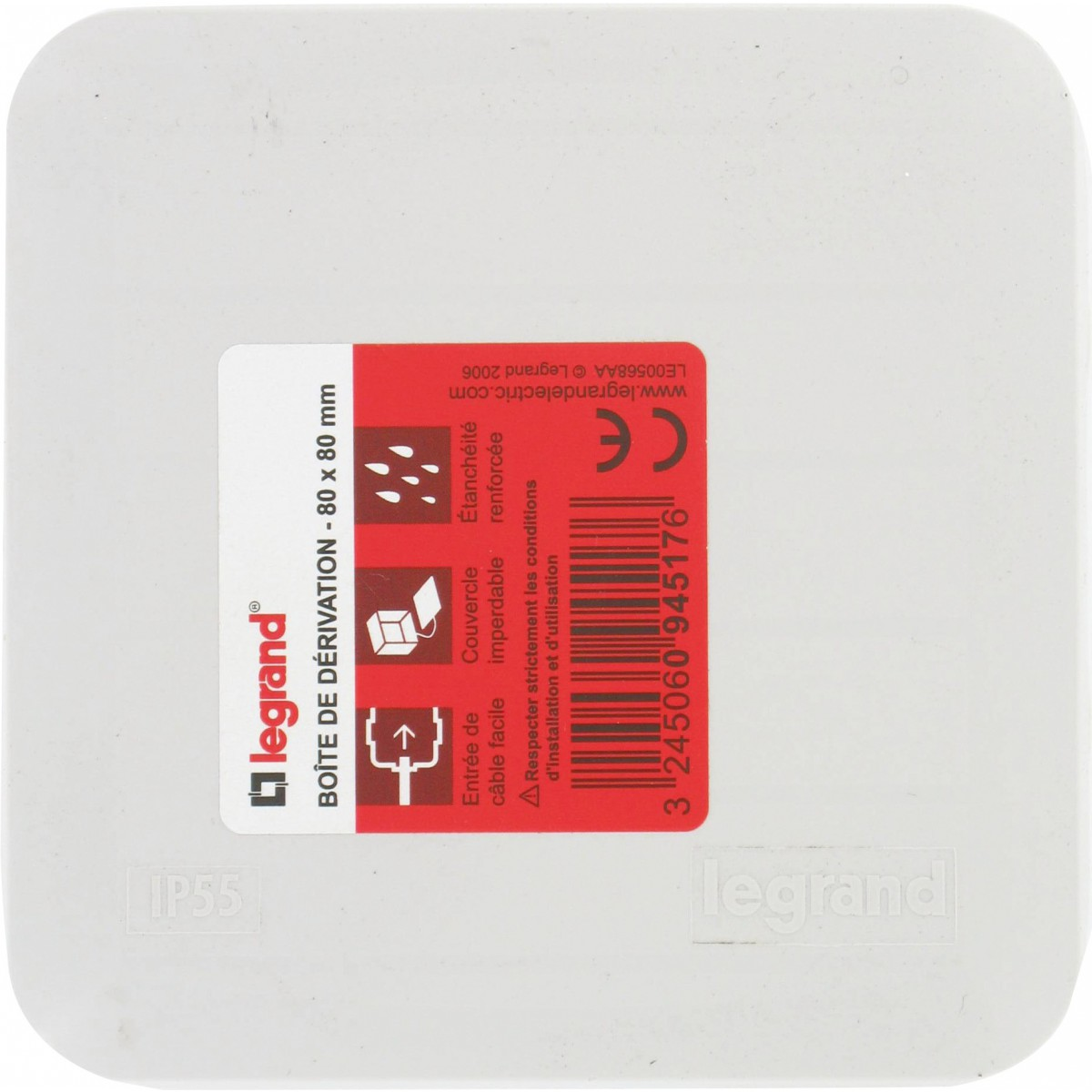 Boîte de dérivation Plexo carrée 80 x 80 mm Legrand - 7 entrées - Gris