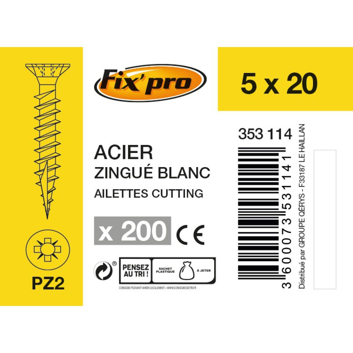 Vis à bois tête fraisée PZ - 5x20 - 200pces - Fixpro