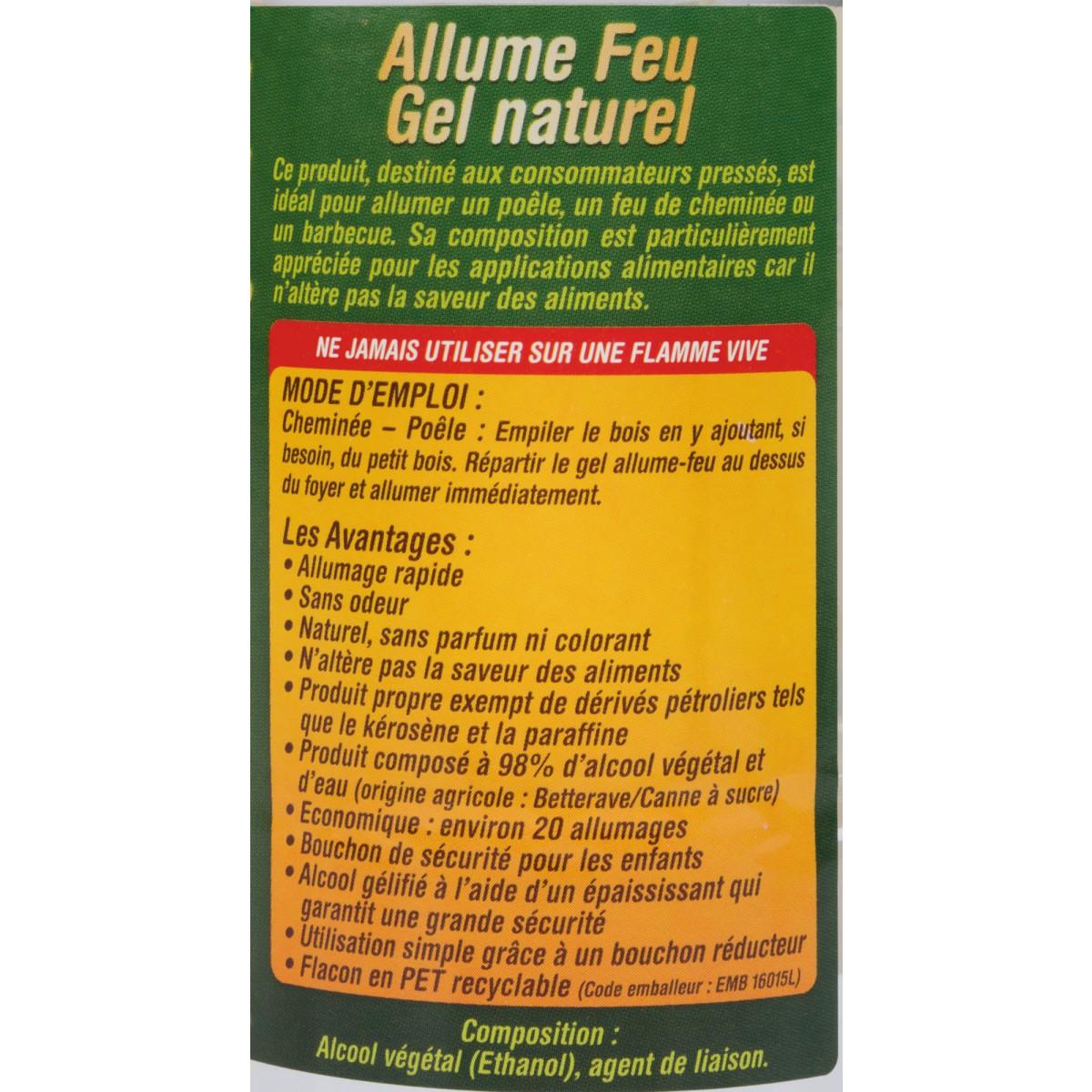 Allume Feu gel naturel d'origine végétale Feudor  - Flacon 1 l