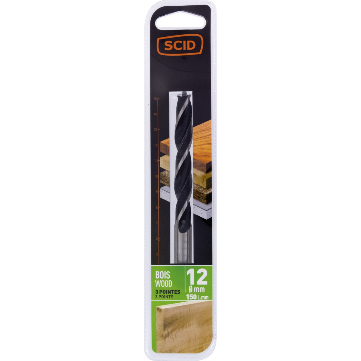 Mèche à bois 3 pointes SCID - Longueur 150 mm - Diamètre 12 mm