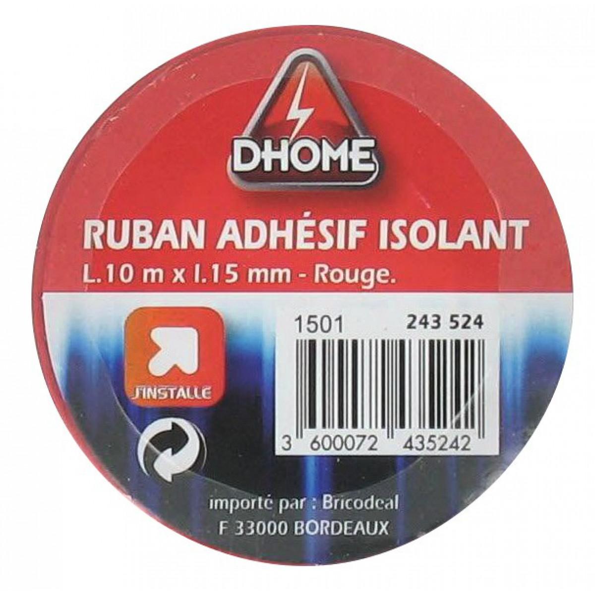 Ruban adhésif isolant Dhome - Rouge