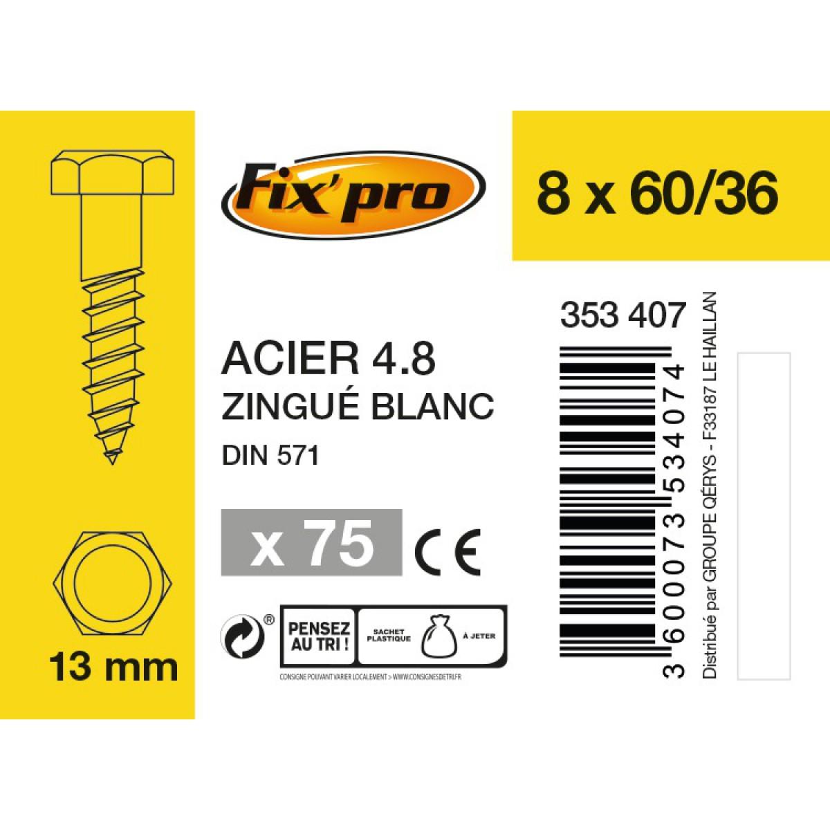 Tirefond tête hexagonale acier zingué - 8x60/36 - 75pces - Fixpro