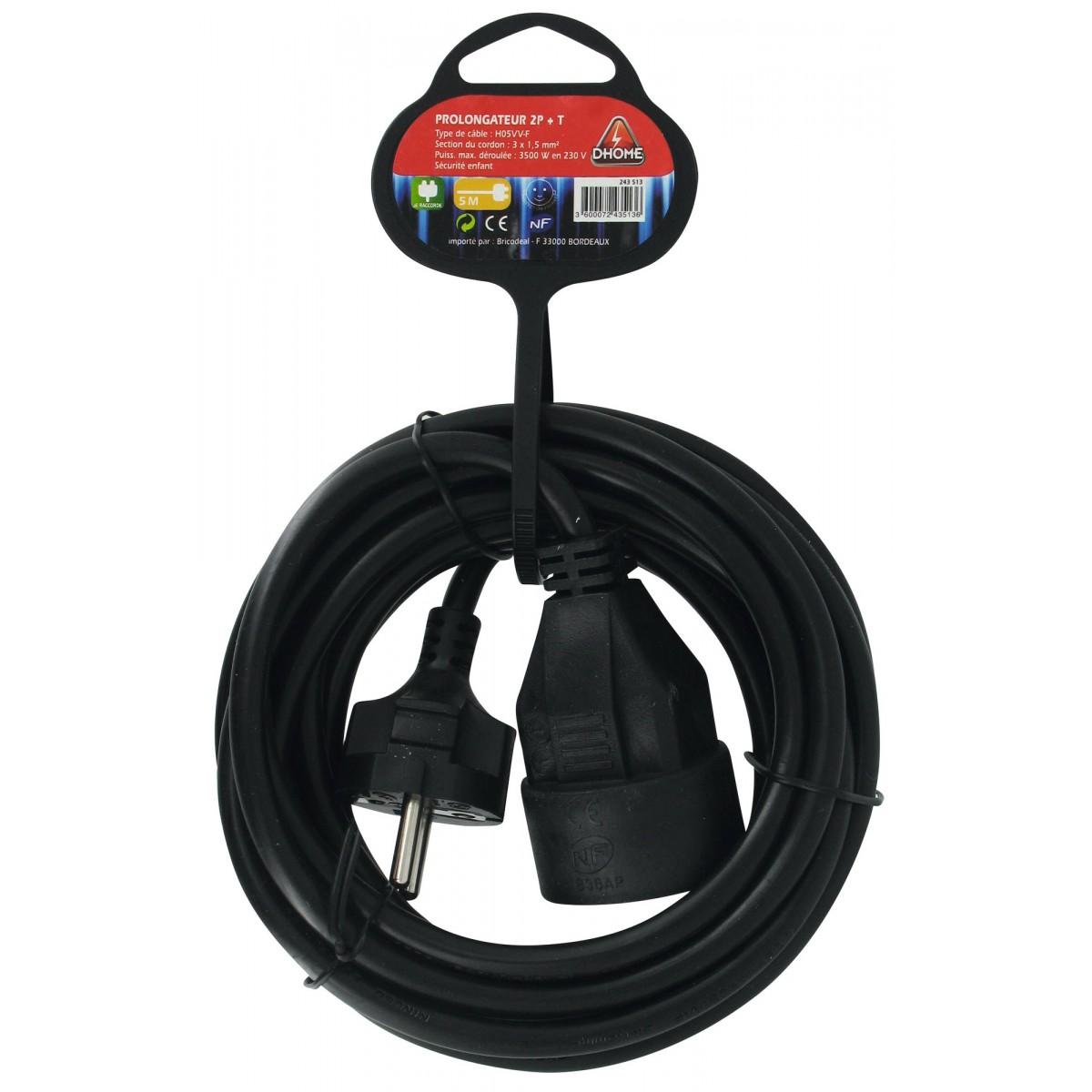Prolongateur câble souple noir Dhome - H05 VV-F - Longueur 5 m - Section 1,5 mm²