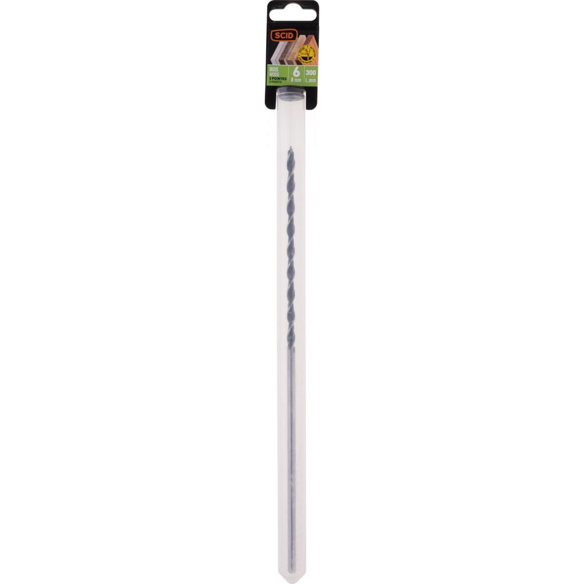 Mèche à bois 3 pointes SCID - Longueur 300 mm - Diamètre 6 mm