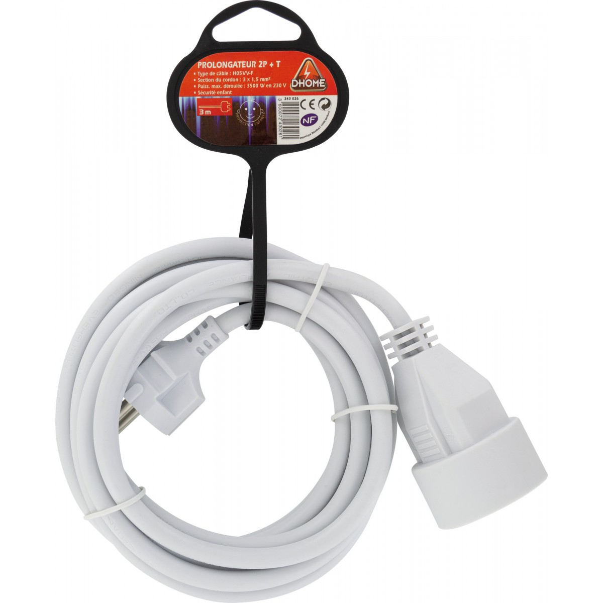 Prolongateur câble souple blanc Dhome - H05 VV-F 3G 1,5 mm² - Longueur 3 m