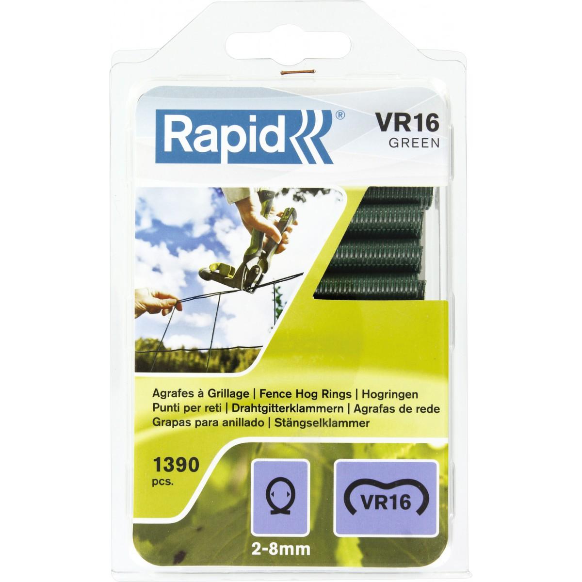Agrafes à grillage VR16 Rapid Agraf - Plastifiées vertes - 1390 agrafes