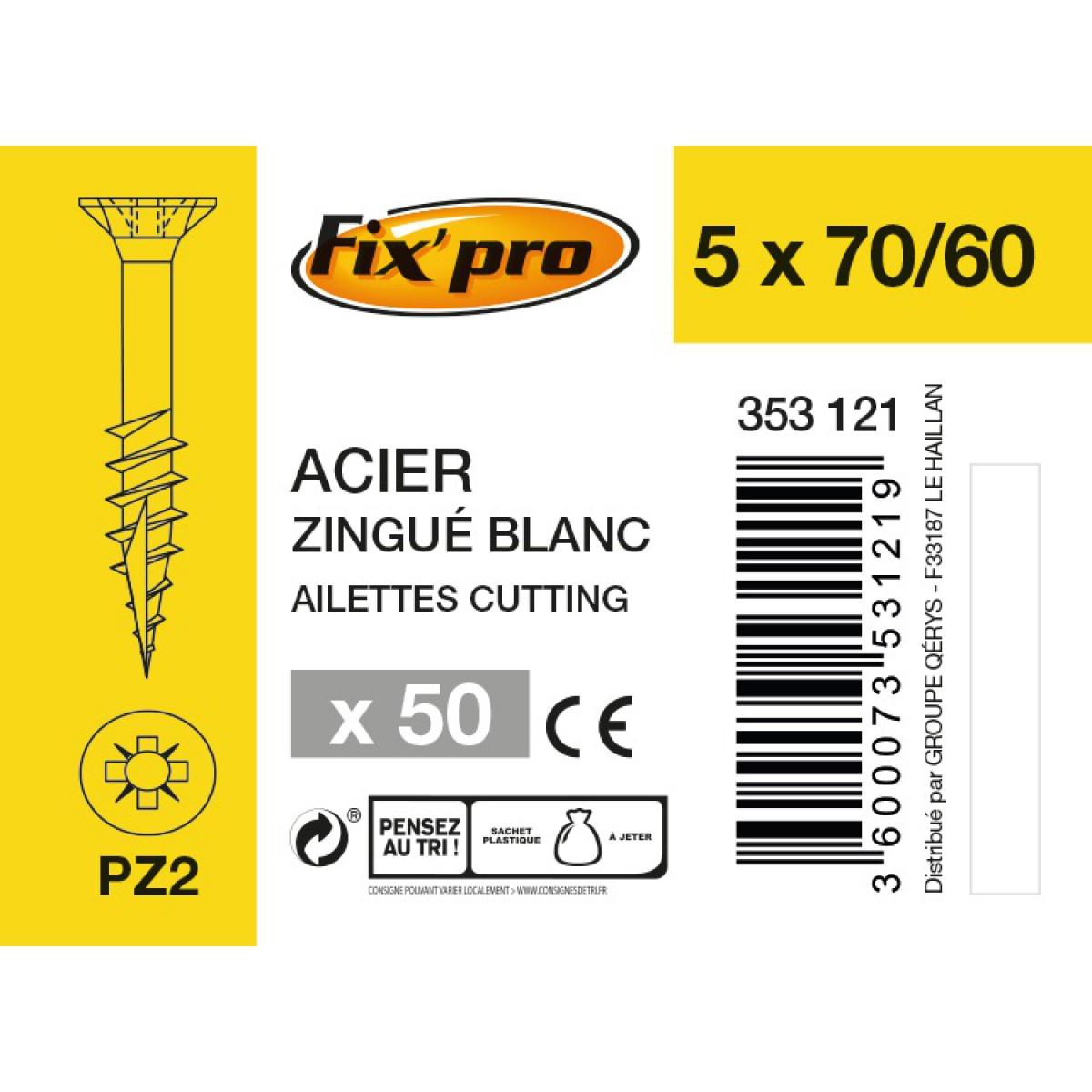 Vis à bois tête fraisée PZ - 5x70/60 - 50pces - Fixpro