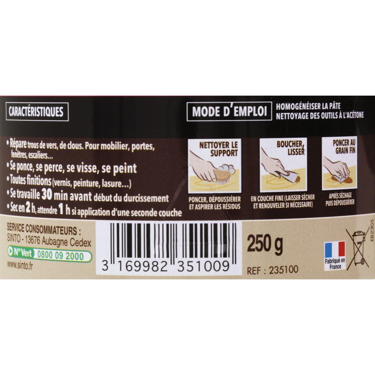Sintobois rebouche imperfections Sinto - Chêne moyen - 250 g