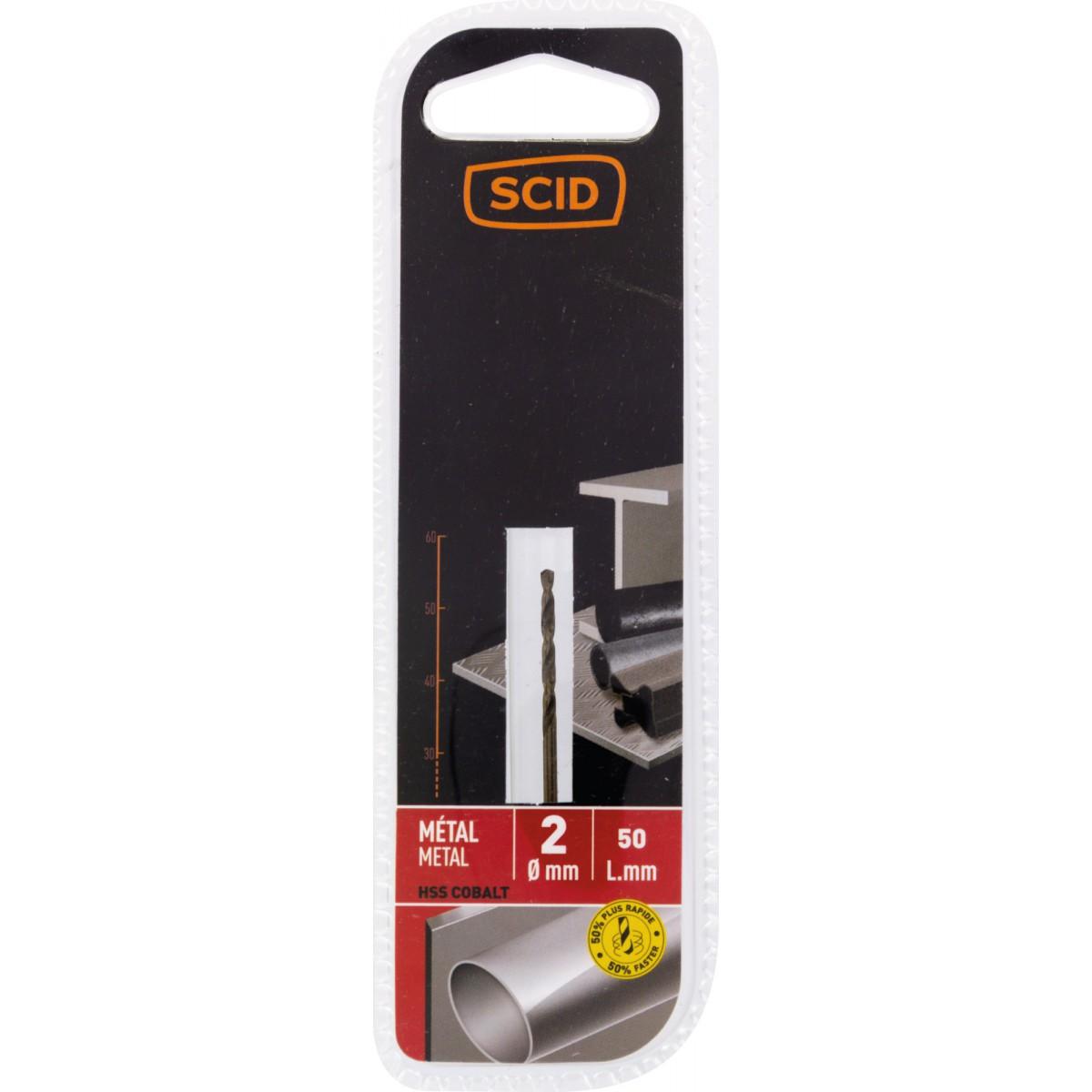Foret métal HSS cobalt SCID - Longueur 50 mm - Diamètre 2 mm