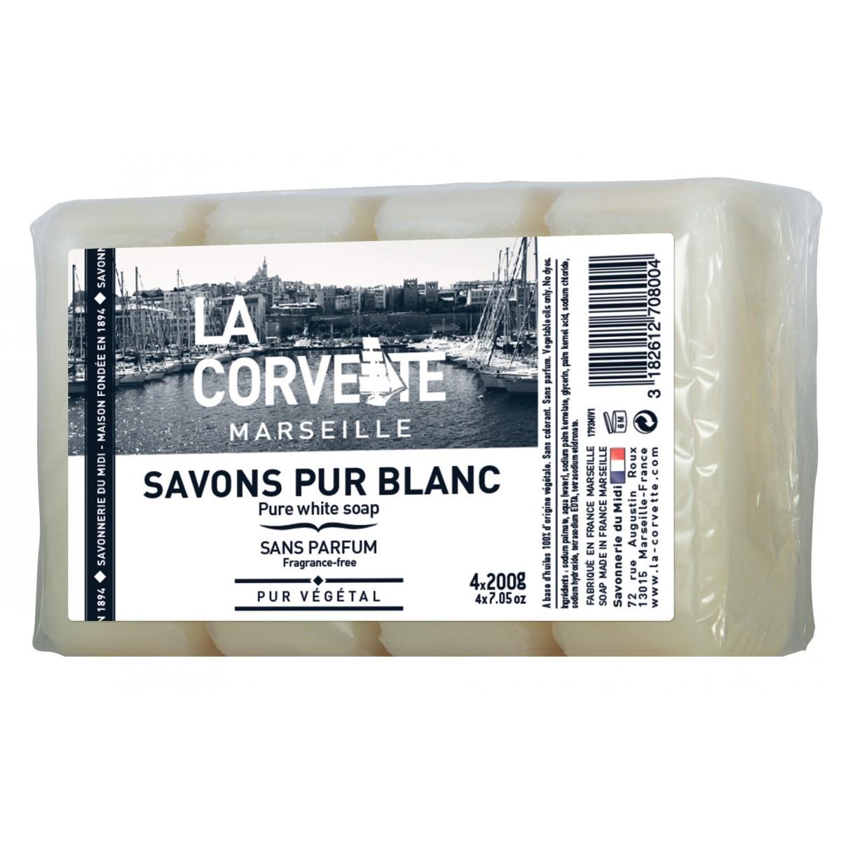 Savons de Marseille pur Savonnerie du midi - 4 savons de 200 g