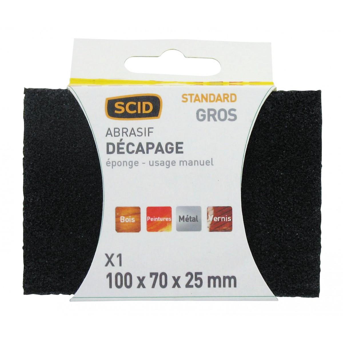 Eponge abrasive 4 faces SCID - Grain Gros - Vendu par 1