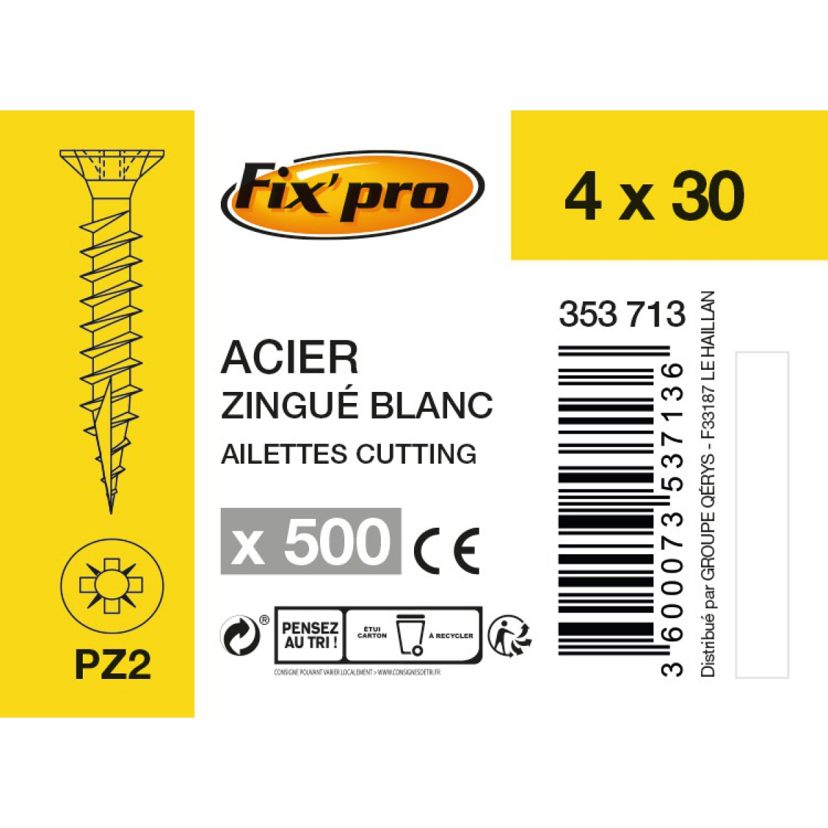 Vis à bois tête fraisée PZ - 4x30 - 500pces - Fixpro