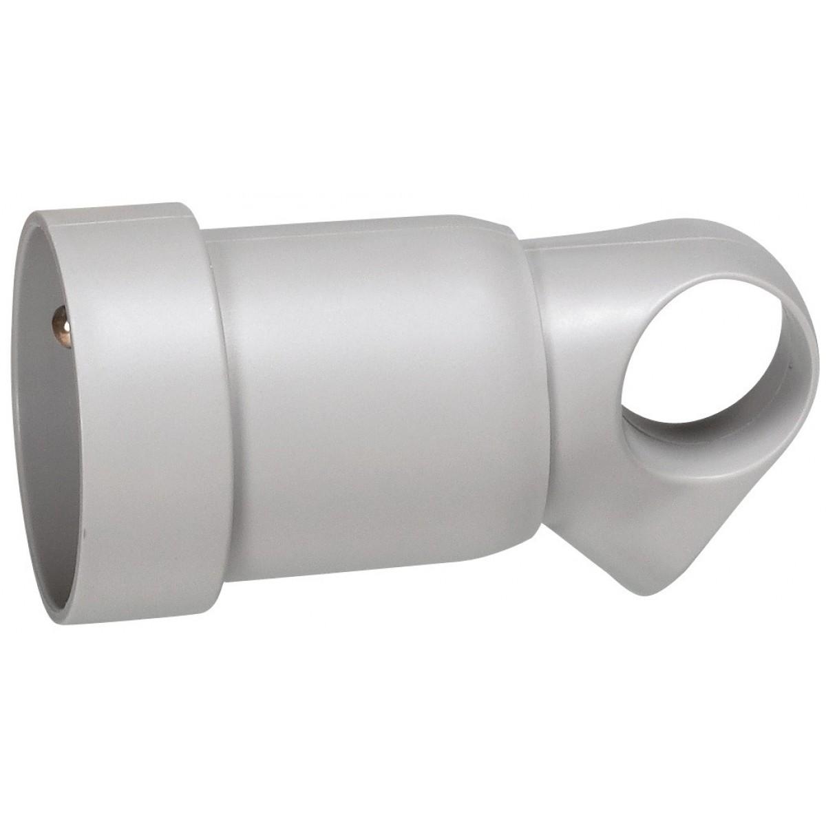Fiche plastique avec anneau 2P+T 16 A Legrand - Femelle - Gris