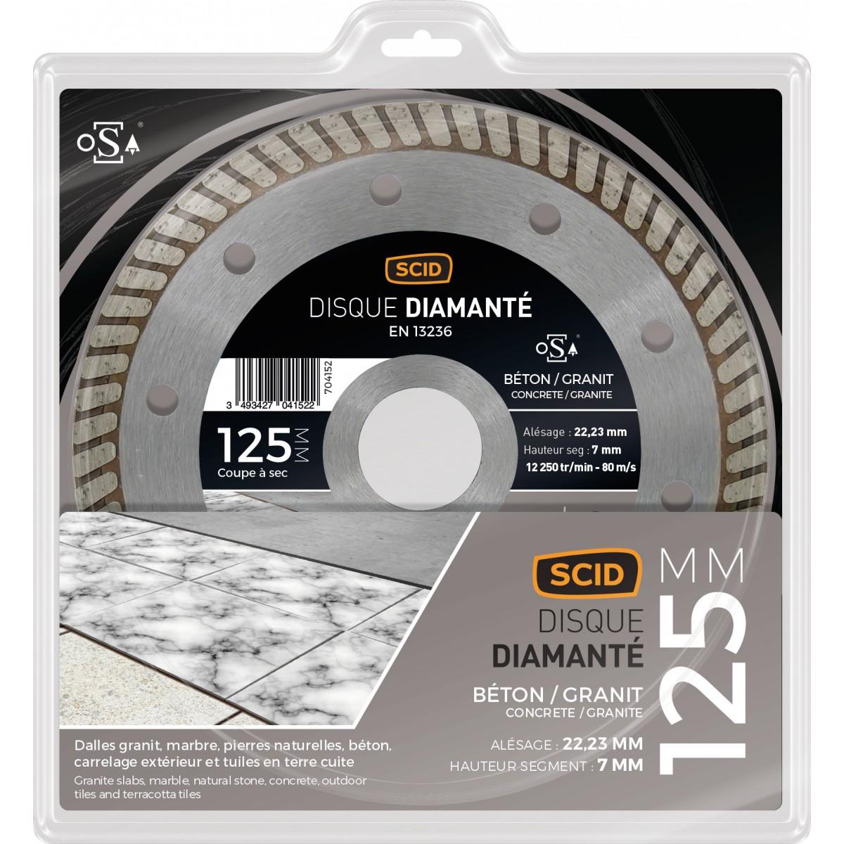 Disque diamanté béton granit crénelé SCID - Diamètre 125 mm