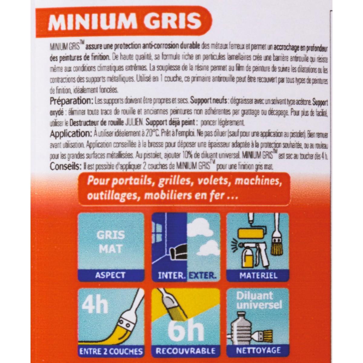 Antirouille minium gris Julien - Boîte 125 ml