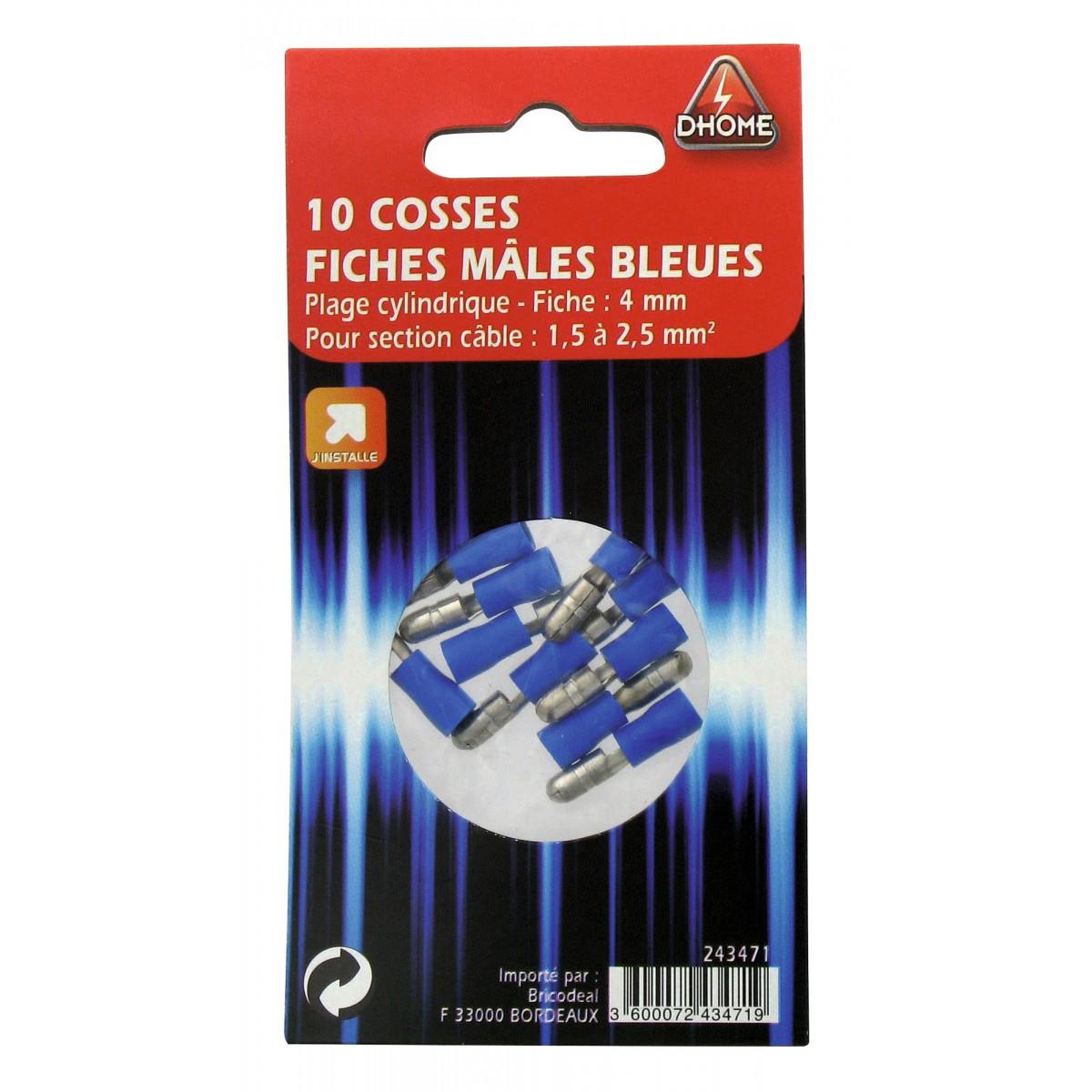 Fiche cylindrique Dhome - Mâle - Bleu - Diamètre 4 mm - Vendu par 10