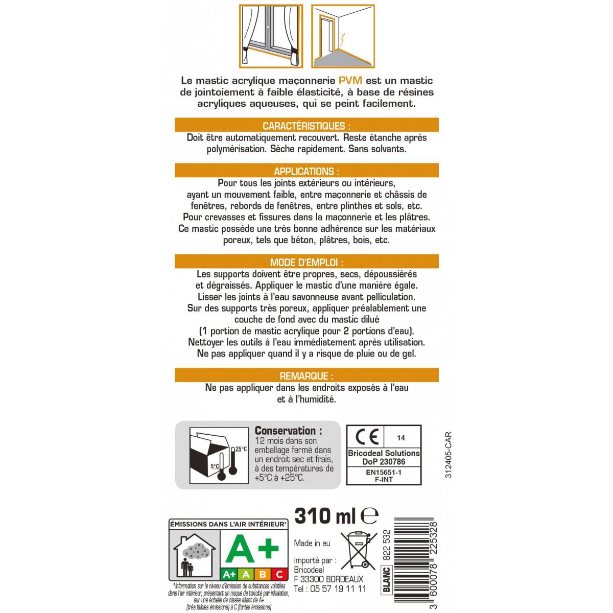 Mastic maçonnerie PVM - Blanc