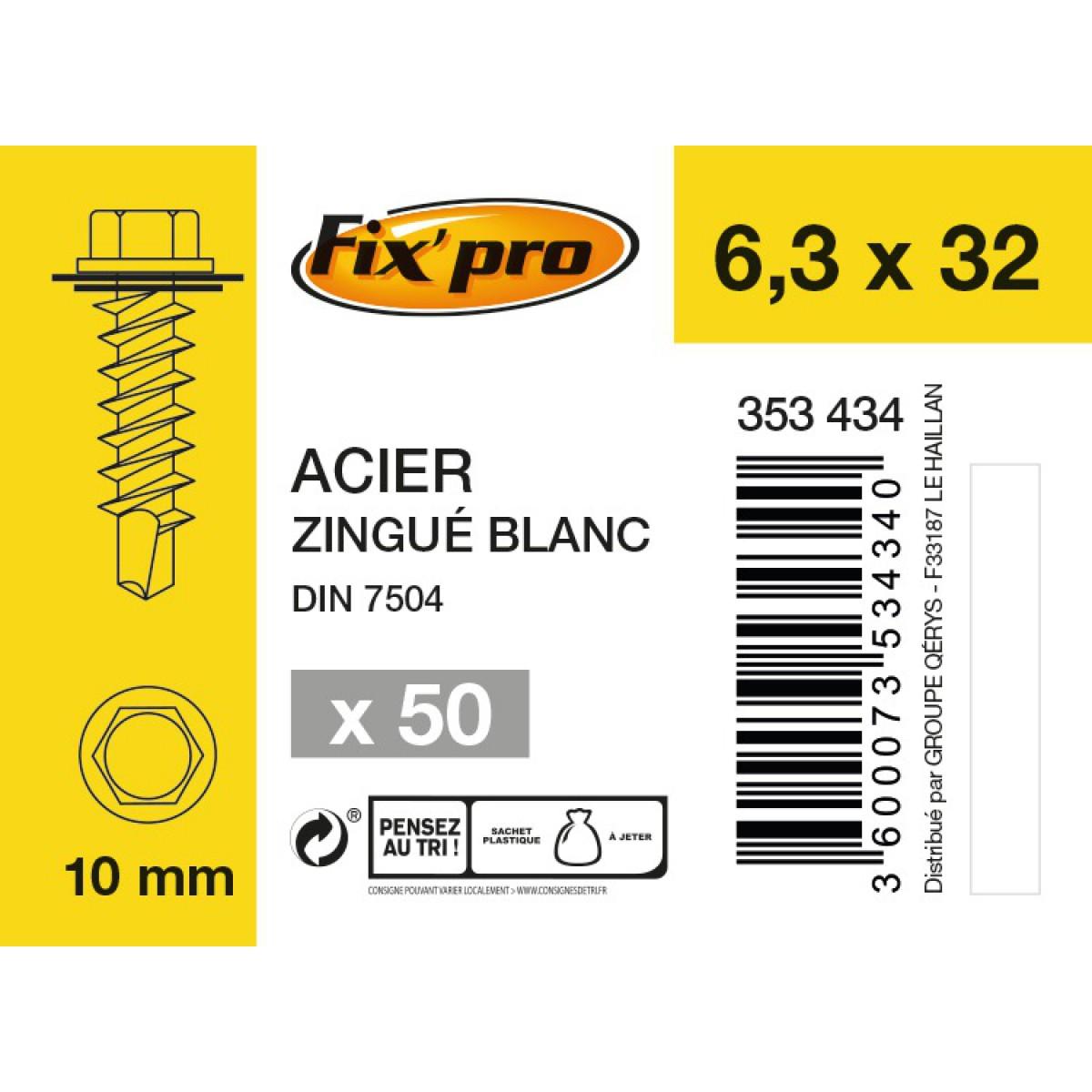 Vis tête hexagonale autoforeuse + rondelle acier zingué - 6,3x32 - 50pces - Fixpro