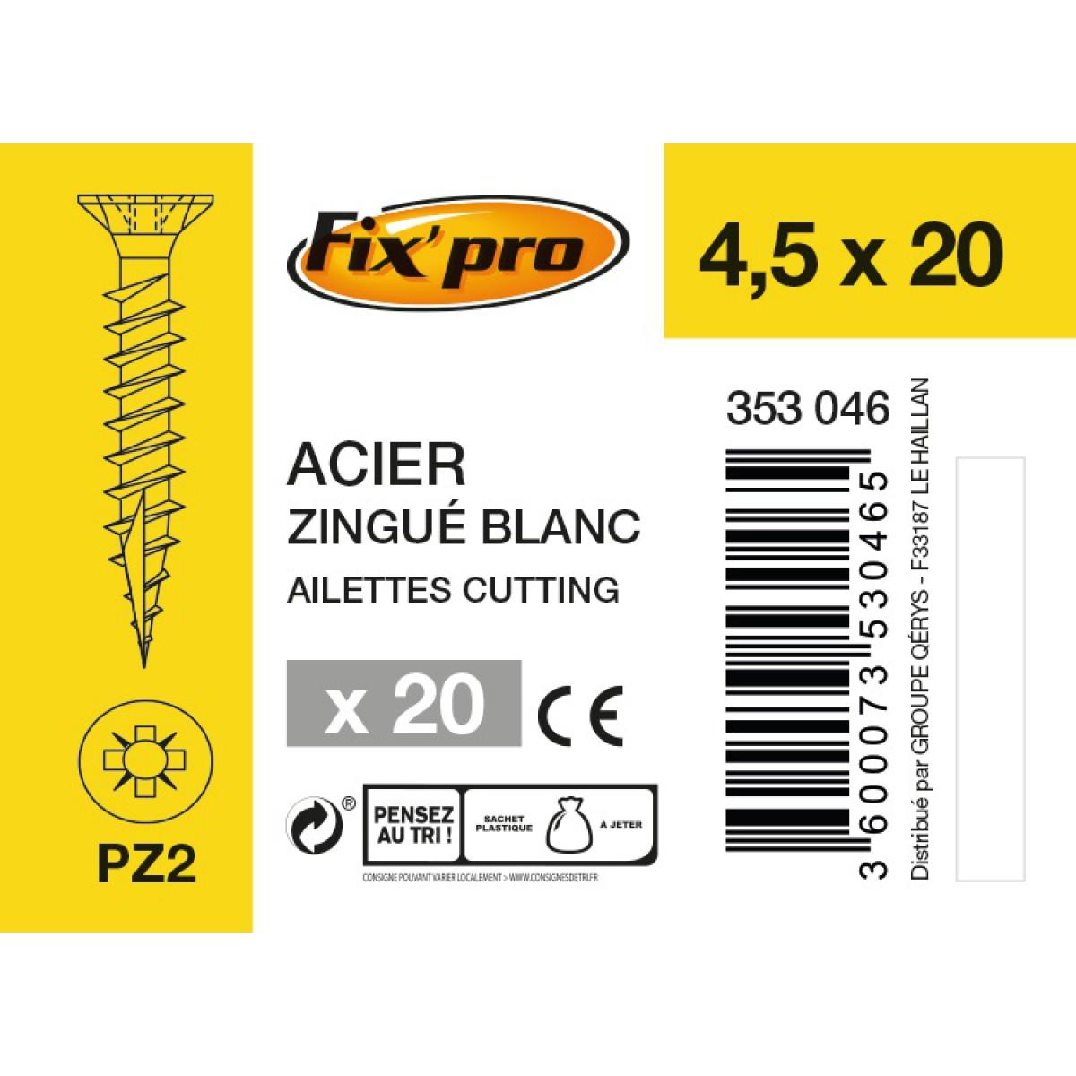 Vis à bois tête fraisée PZ - 4,5x20 - 20pces - Fixpro
