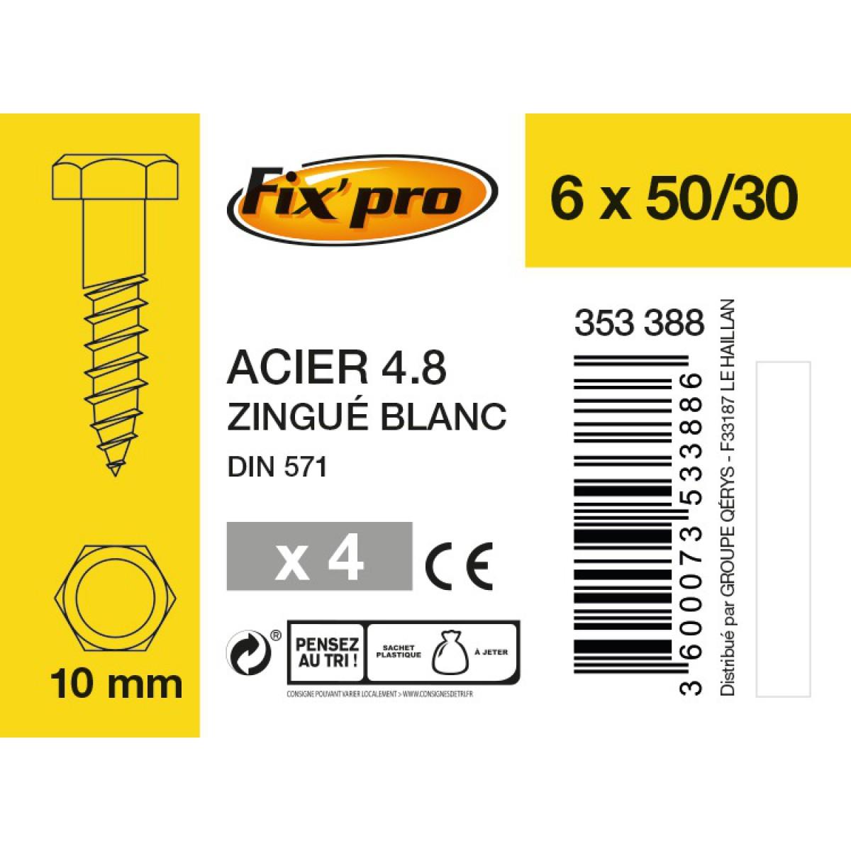 Tirefond tête hexagonale acier zingué - 6x50/30 - 4pces - Fixpro