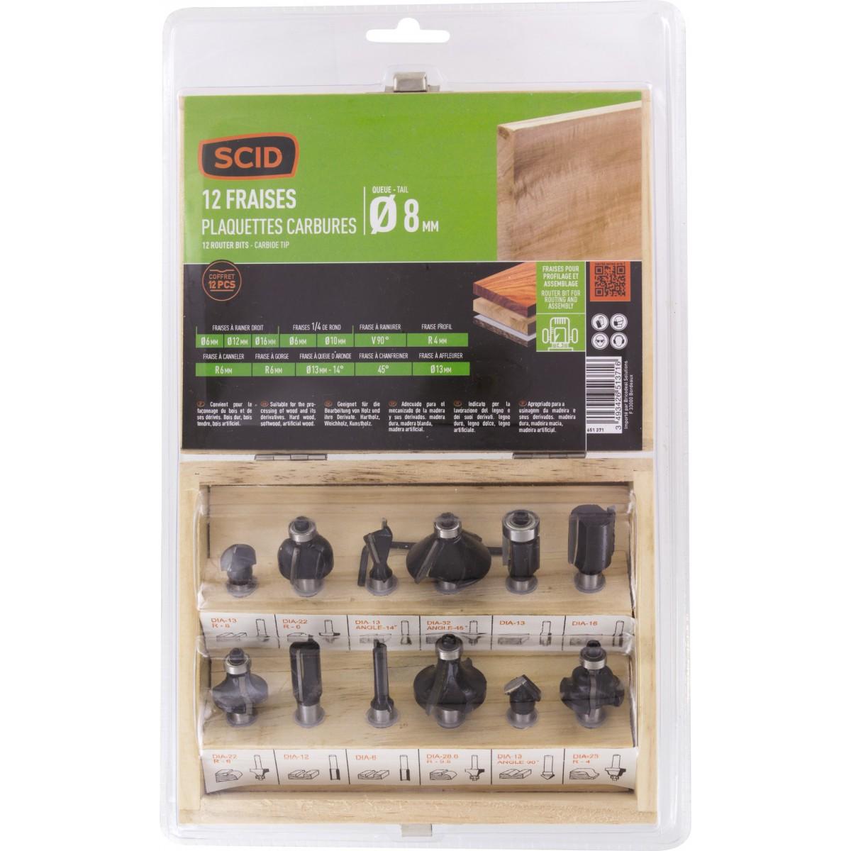 Coffret bois 12 fraises pour défonceuse SCID - Diamètre de queue 8 mm