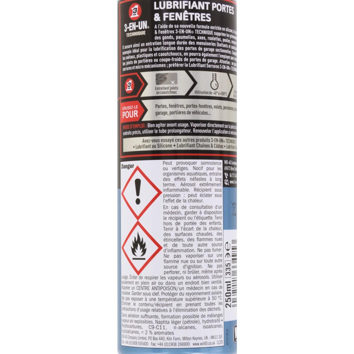 Lubrifiant portes & fenêtres 3 en 1 - Aérosol 250 ml