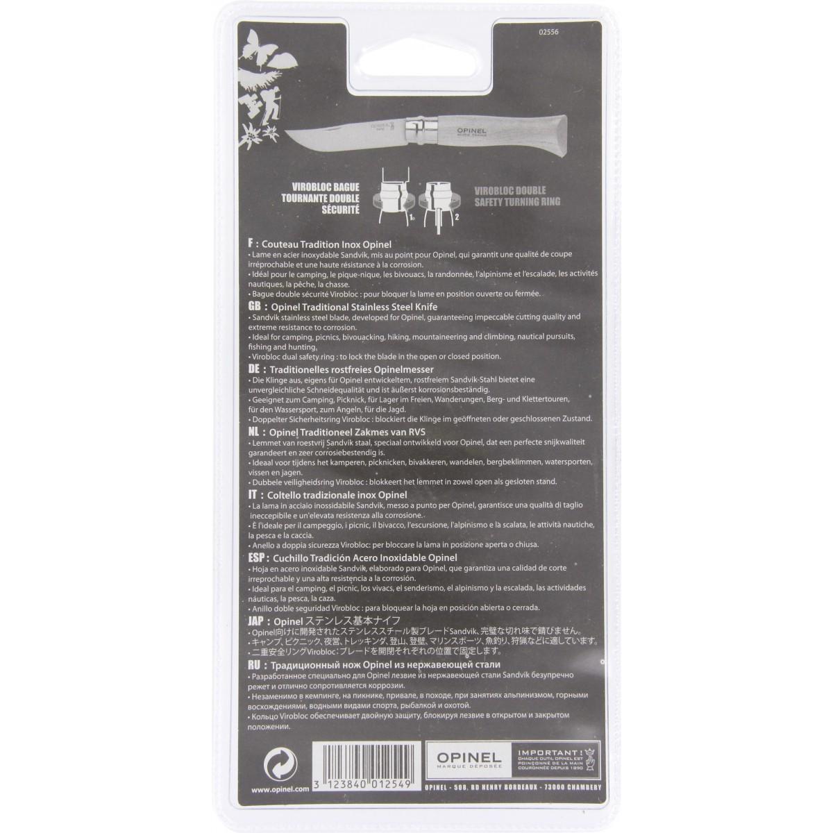 Couteau lame inox Opinel - Longueur lame 9 cm - N°9