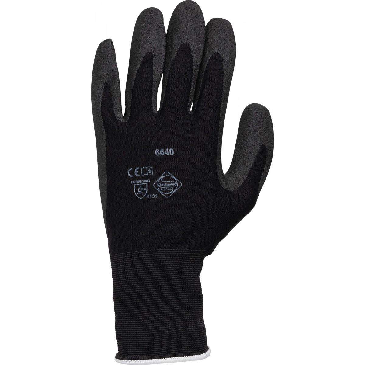 Gants de protection et précision Hydropellent polyester mousse PVC Outibat - Taille 10 - Vendu par 10
