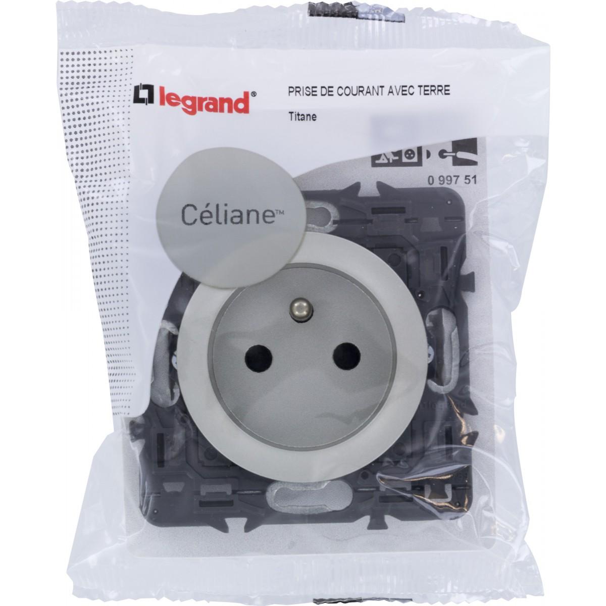 Prise de courant 2P+T Legrand - Céliane - Titane