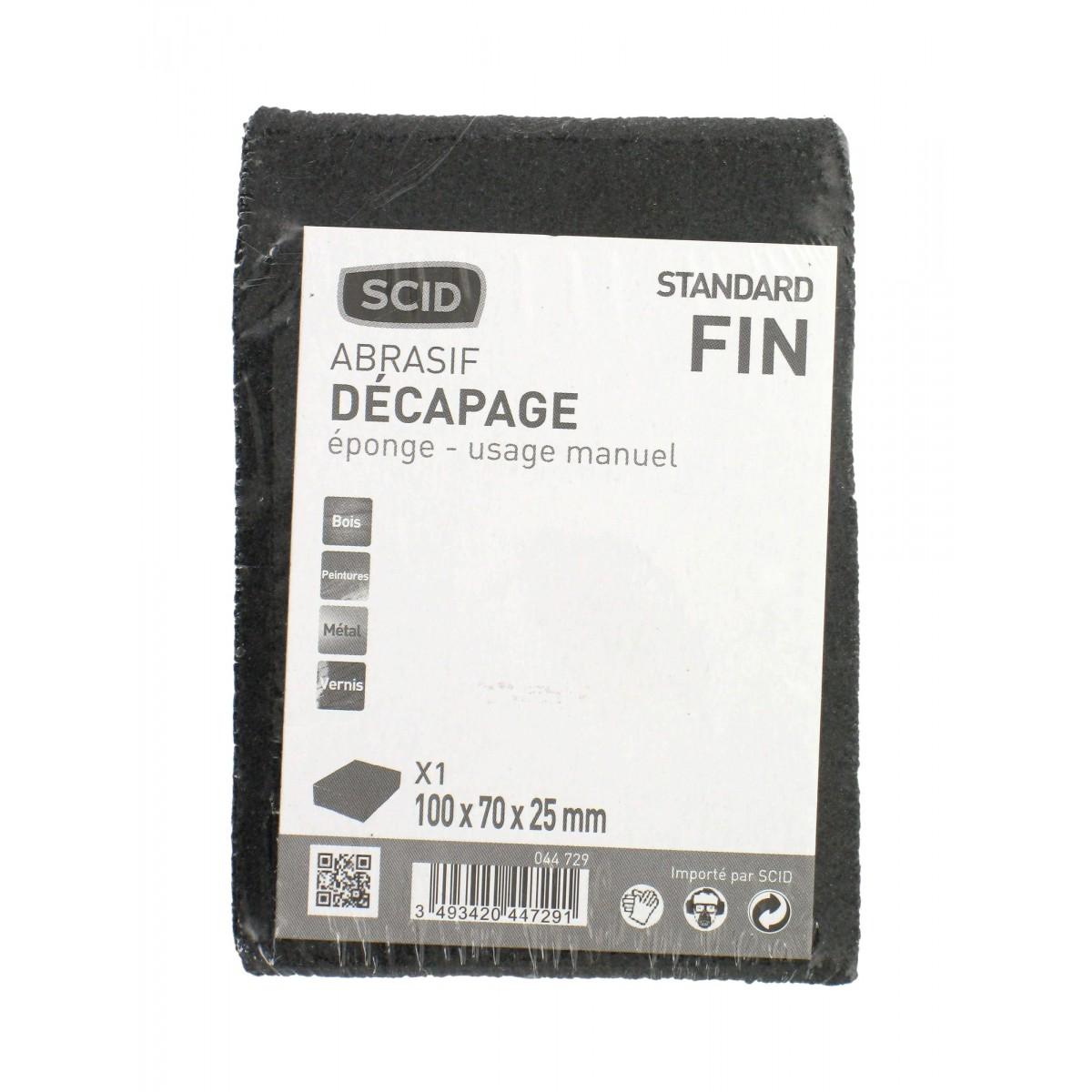 Eponge abrasive 4 faces SCID - Grain Fin - Vendu par 1