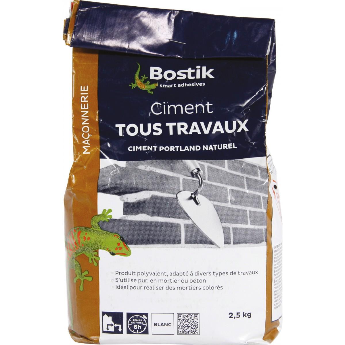 Ciment tous travaux Bostik - Blanc - Sac 2,5 kg