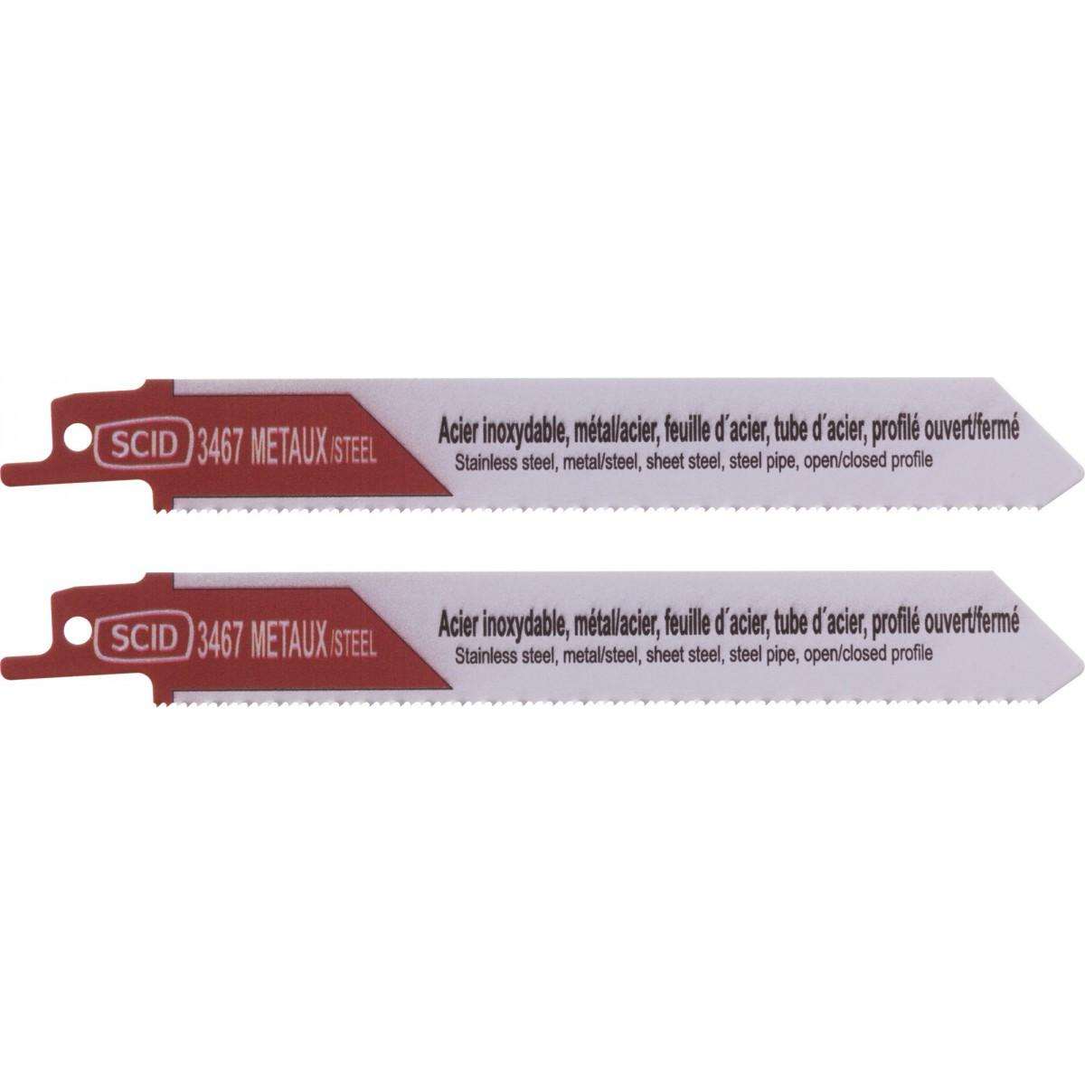 Lame de scie sabre classique métal SCID - Epaisseur 0,9 mm - Longueur 150 mm - Vendu par 2