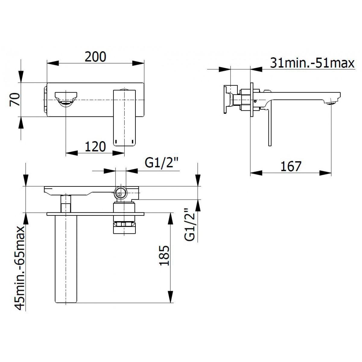 Mitigeur lavabo encastrable MOVE Sarodis - Chromé