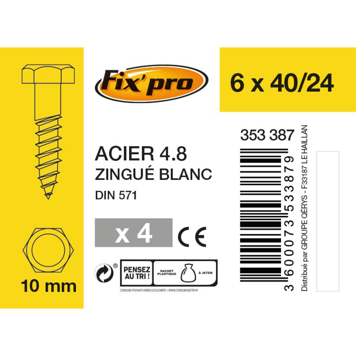 Tirefond tête hexagonale acier zingué - 6x40/24 - 4pces - Fixpro