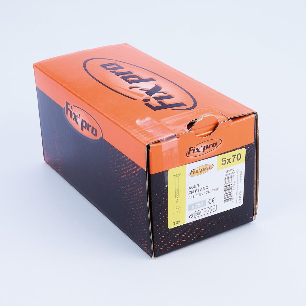 Vis à bois tête fraisée TX - 5x70 - 250pces - Fixpro
