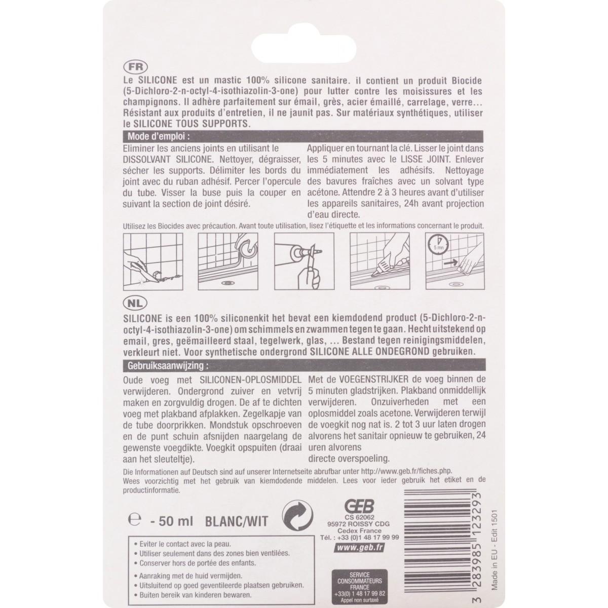Mastic silicone surface émaillée Geb - Tube 50 ml - Blanc