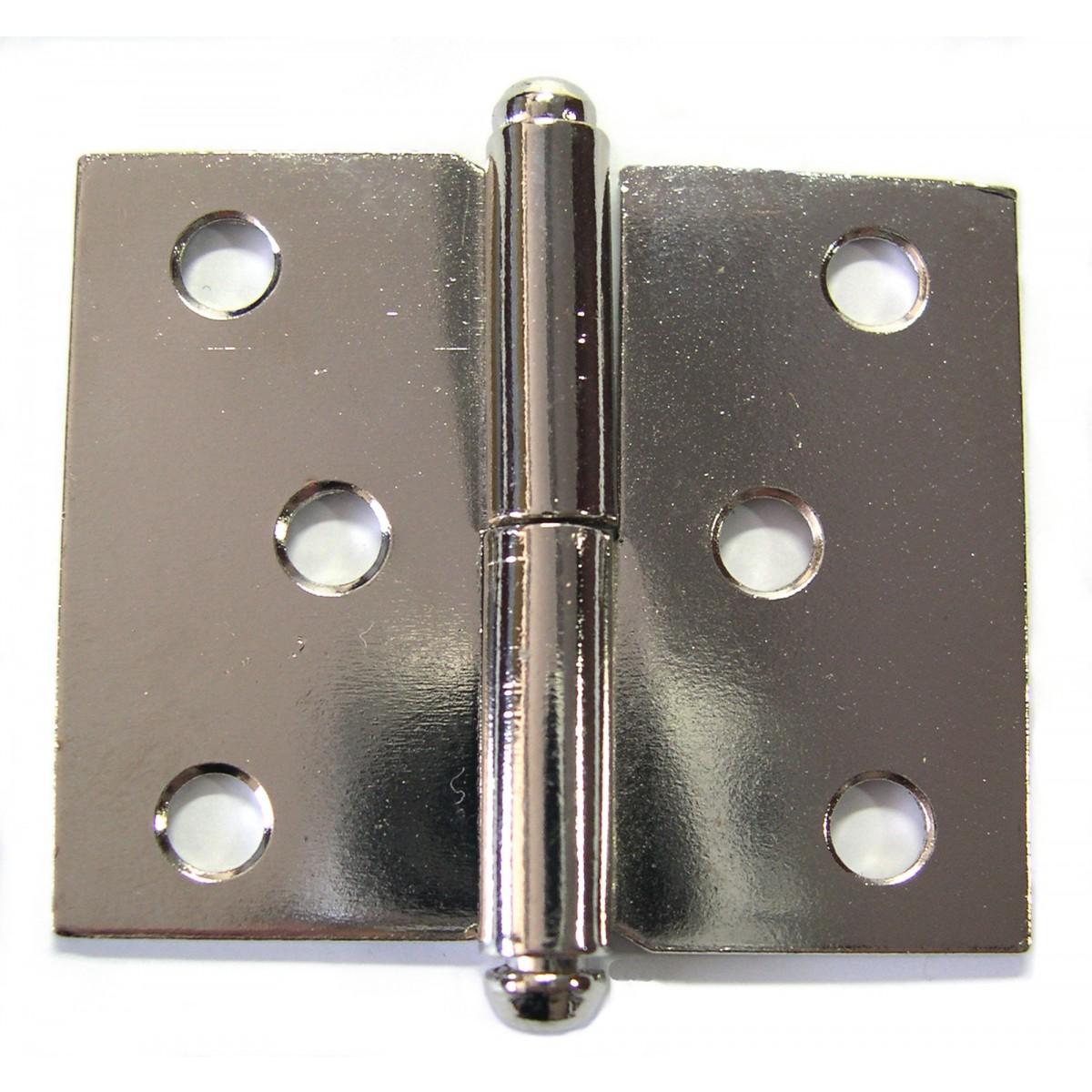 Paumelle de meuble acier nickelé PVM - Gauche - Hauteur 30 mm - Largeur 40 mm - Vendu par 2