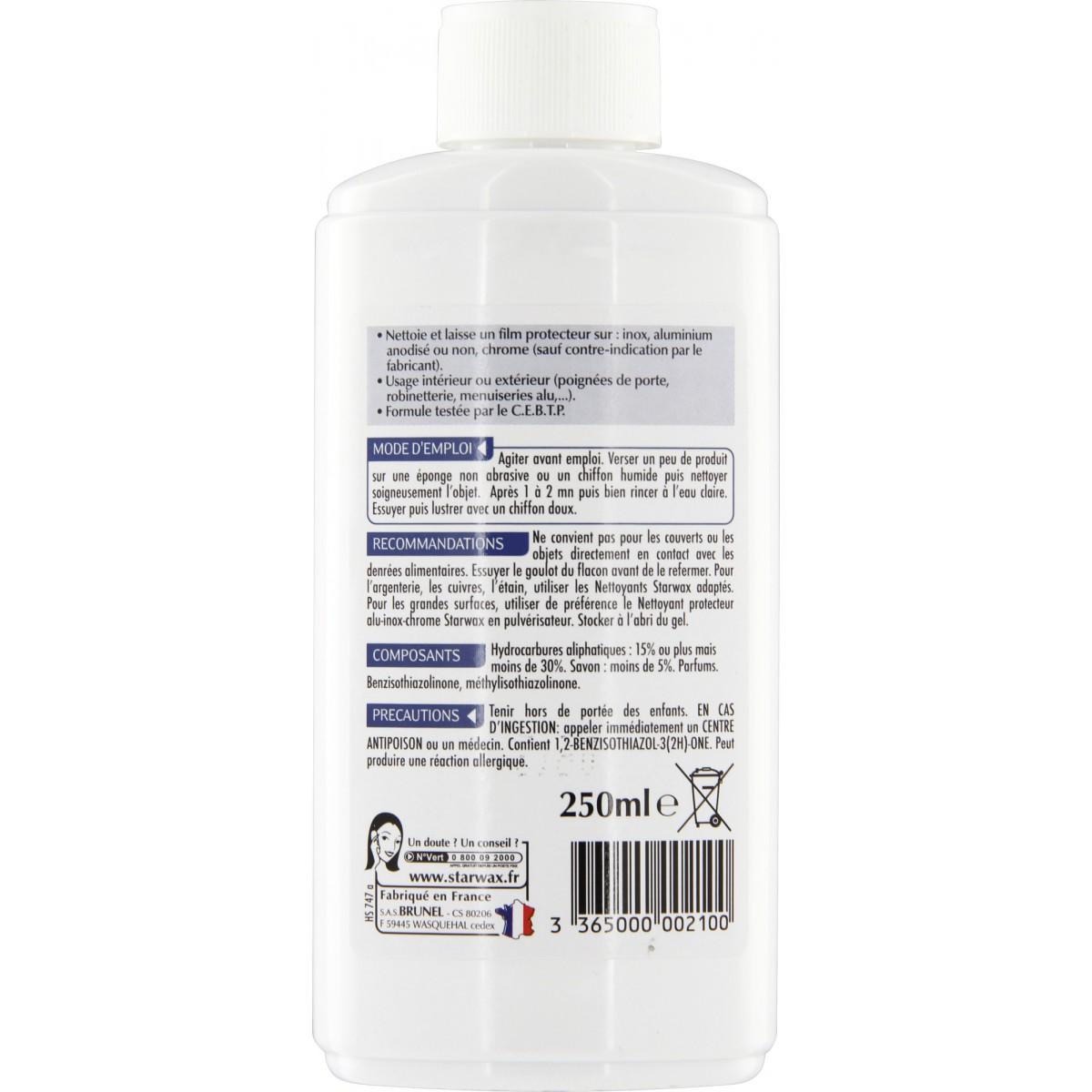 Nettoyant inox, aluminium et chrome Starwax - Flacon 250 ml