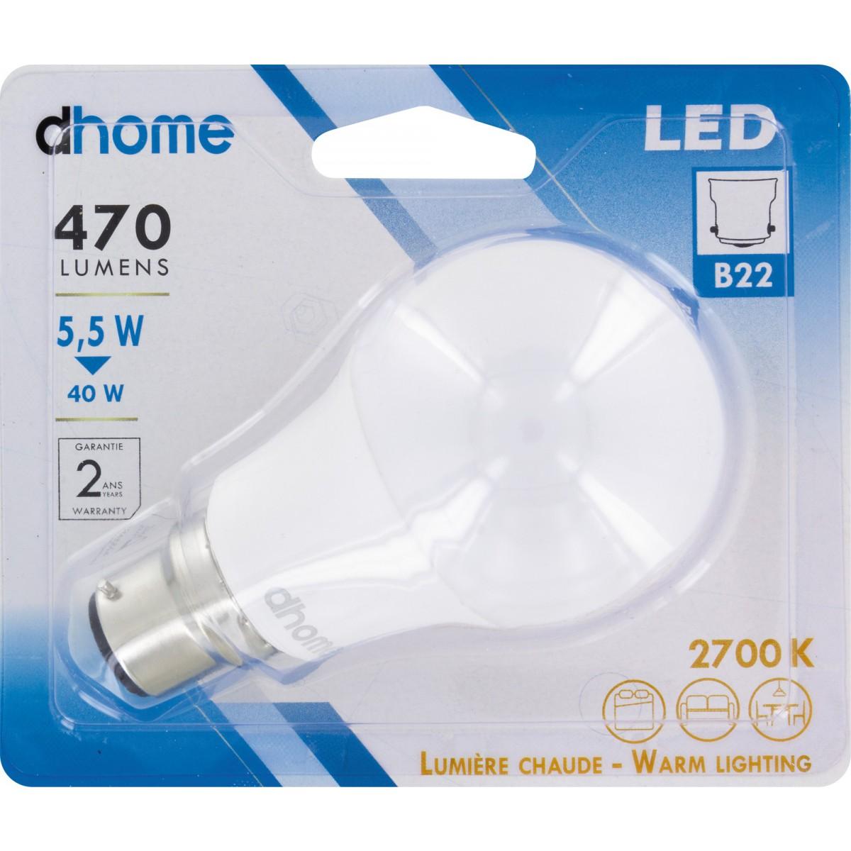 Ampoule LED standard B22 dhome - 470 Lumens - 5,5 W - 2700 K